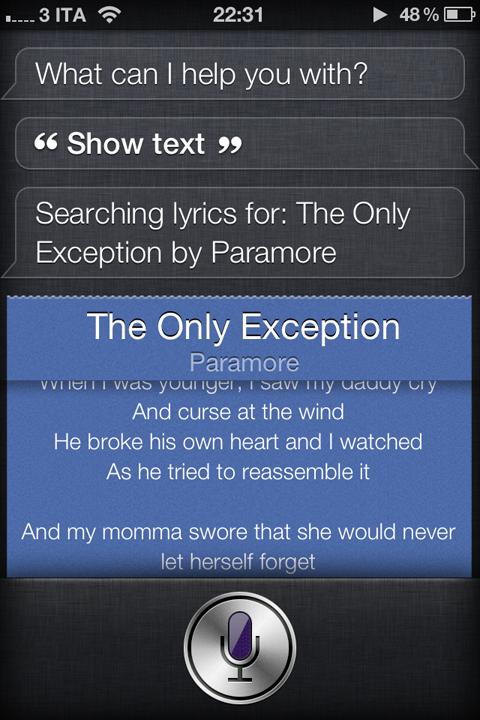 SiriLoveLyrics